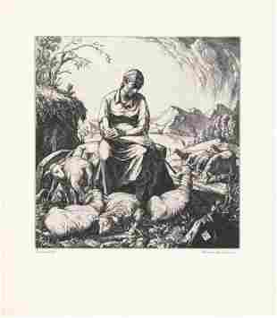 Carl Schultheiss Engraving Pastoral II