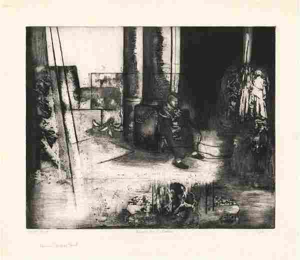 Barbara S. Spitz, Around the Cathedral, Etching