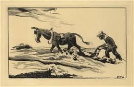 Thomas Hart Benton, Plowing It Under, Lithograph