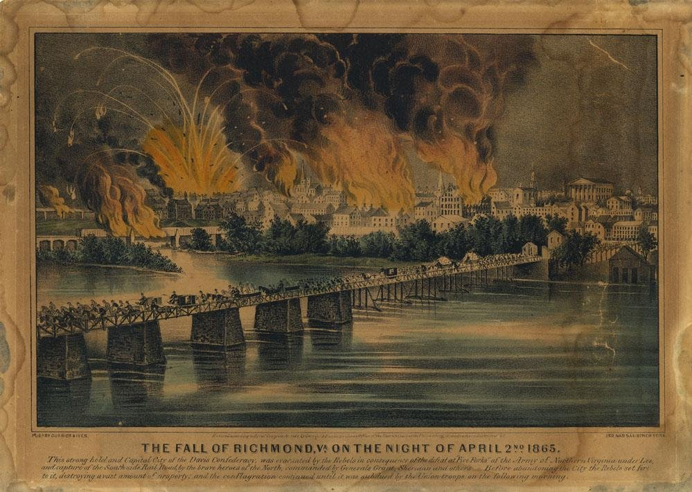 Currier & Ives, Fall of Richmond, Lithograph