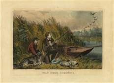 Currier  Ives Wild Duck Shooting Lithograph