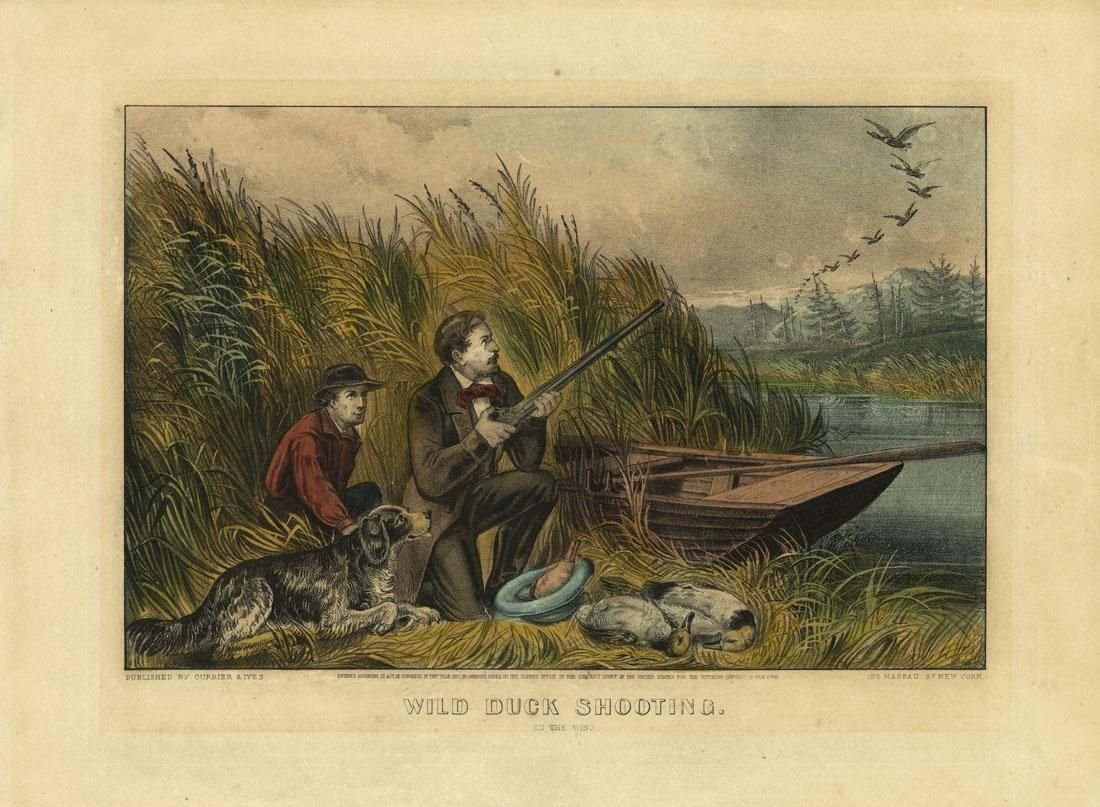 Currier & Ives, Wild Duck Shooting, Lithograph