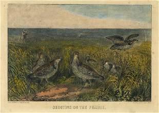 Currier Ives Prairie Hens Lithograph