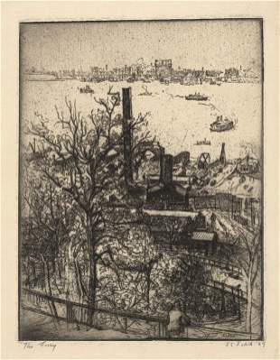 Eugene C Fitsch The Ferry Etching
