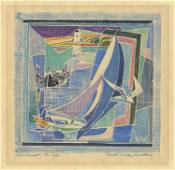 Ferol Warthen, Sailboat, White-Line Woodcut