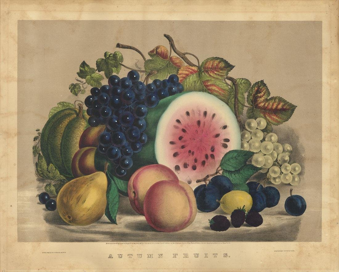 Currier & Ives, Autumn Fruits, Lithograph