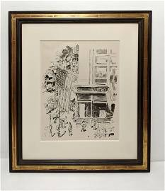 Childe Hassam, Lafayette Street, Lithograph