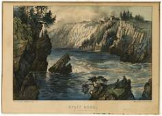 Currier  Ives Split Rock N B Lithograph