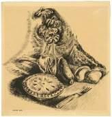 Wanda Gag, Pie and Flowers, Drybrush Drawing