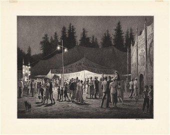 Martin Lewis, Circus Night, Drypoint