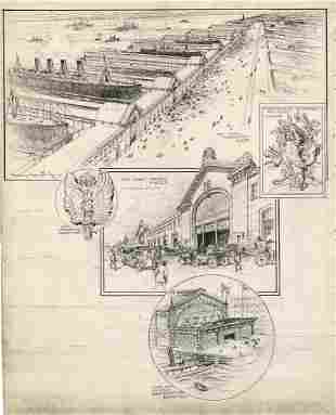 Vernon Howe Bailey, Pier End Showing NYC, Drawing