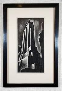 Howard Cook, Skyscrapers, Wood Engraving