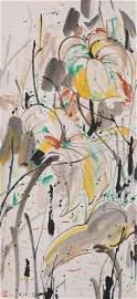Wu Guanzhong - Lotus Flower Painting