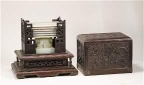 Qing Dynasty - Jade Dragon Seal with Box