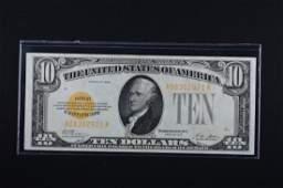 1928 Series $10 Gold Certificate, SN A08302921A, Crisp