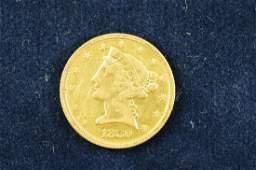 1880 Liberty Head Half Eagle $5 Gold Piece - VF; 91.7%