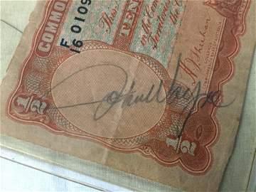 John Wayne Signed Ten Shillings