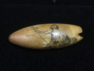 """Whale Tooth - Scrimshaw """"Ed Fowier"""""""
