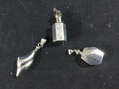 Sterling Perfume Bottle Pendants