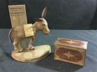 Early Holder & wood box for Cigarettes