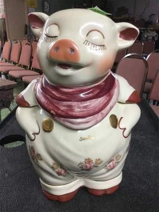Vintage 1940's Smiley Pig Cookie Jar