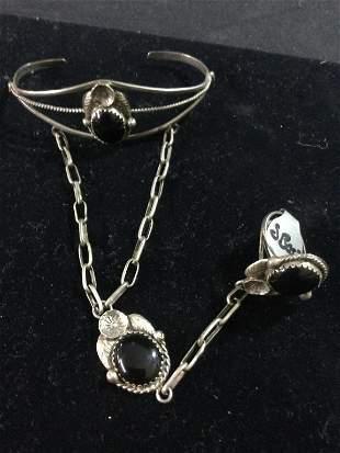 Vintage Native Sterling & Onyx Stone Cuff Bracelet