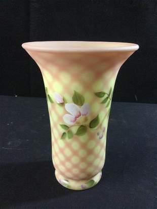 Fenton Burmese Vase LE Signed
