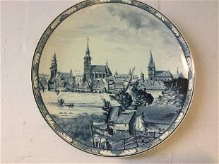 Early German Large Blue & White Porcelain Plate