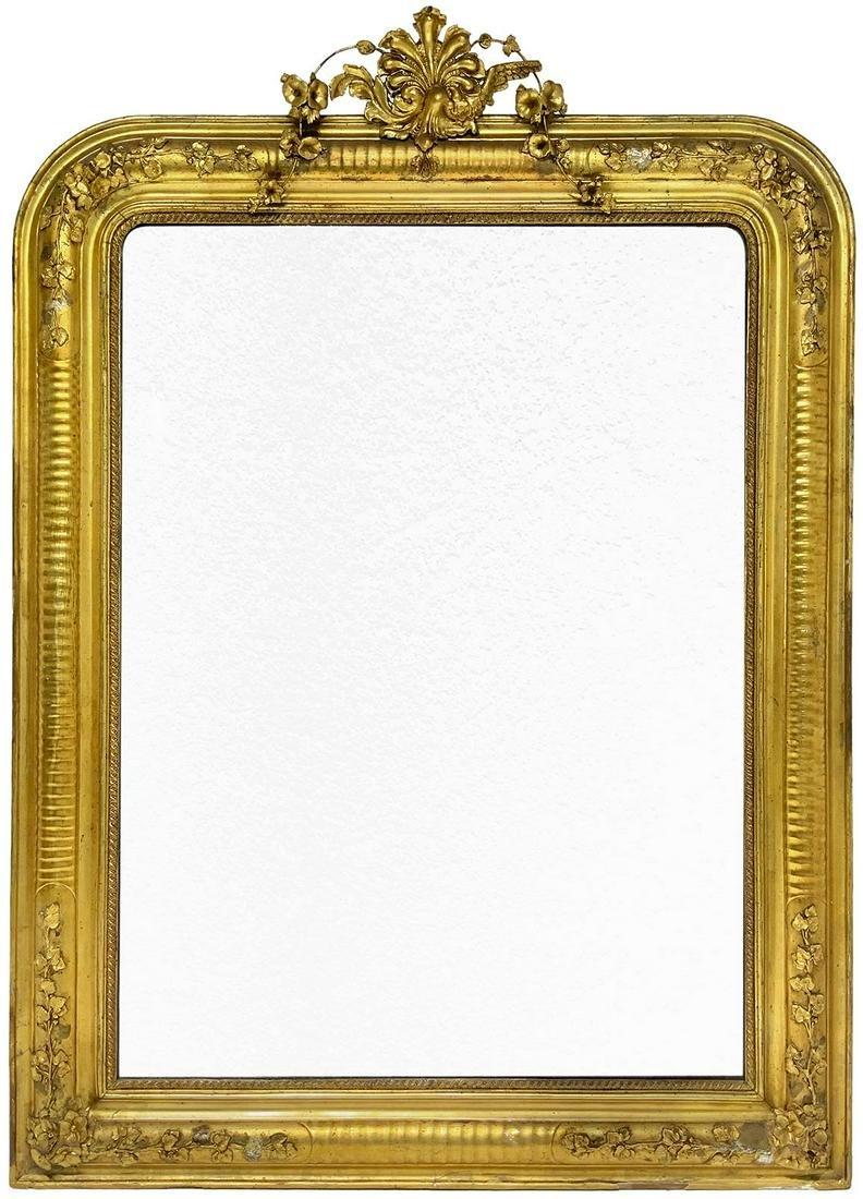 Golden wood rectangular pier glass. Cymatium on the