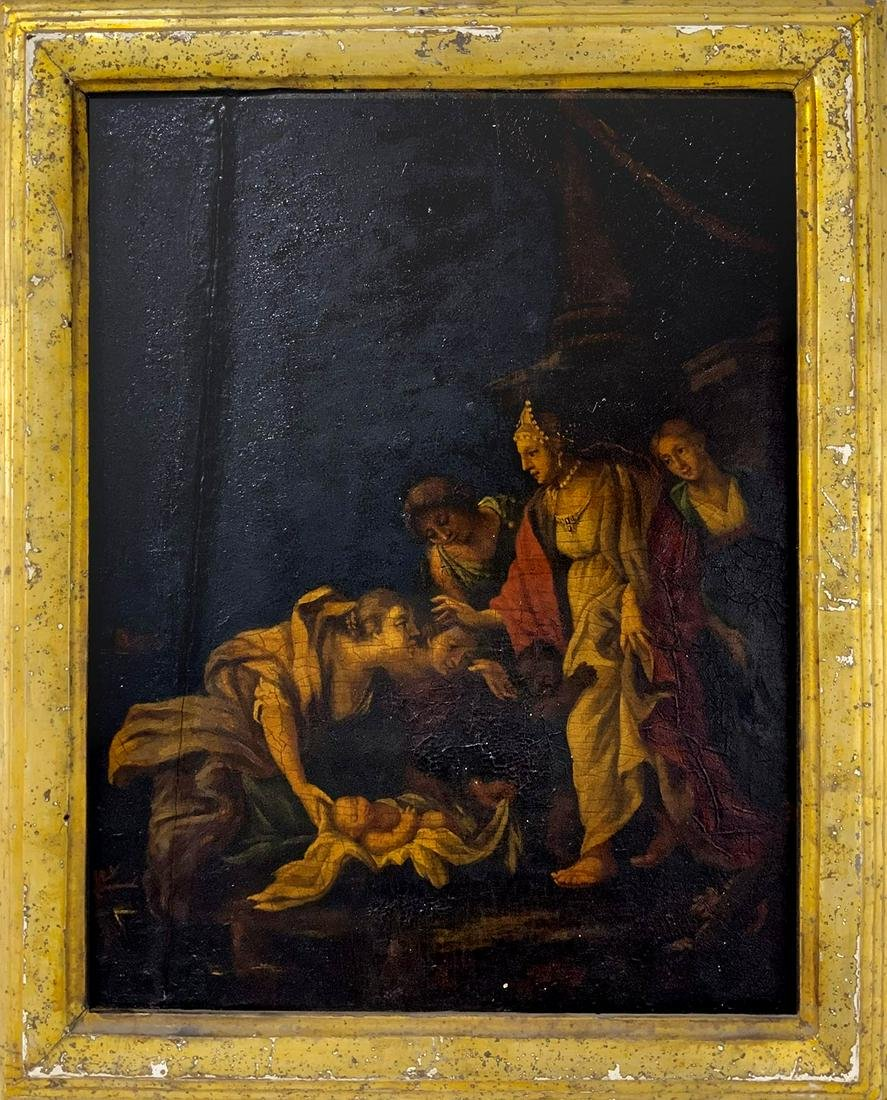 Painter from the 18th century. Moses' finding. 36x28,