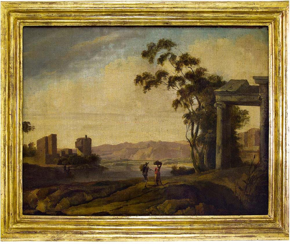 Italian painter from the 18th century. River landscape