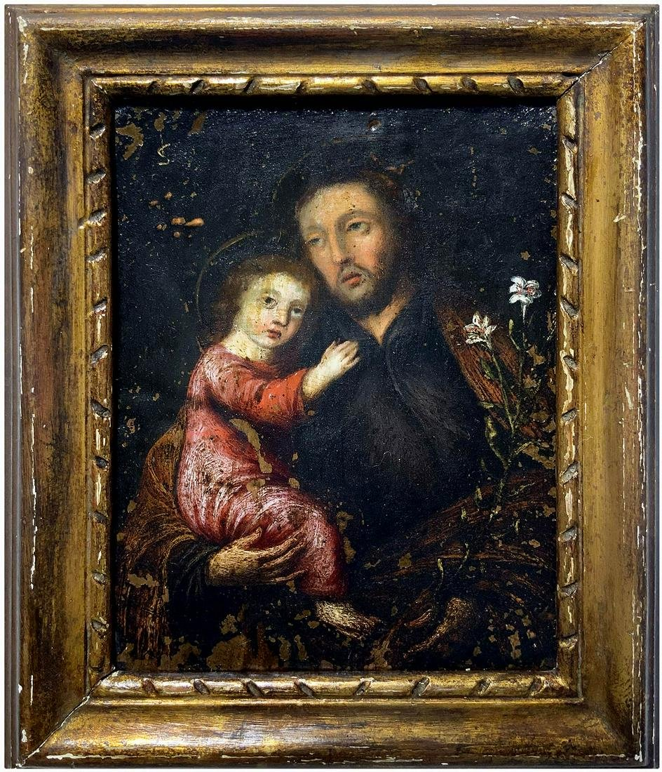 Painter from the 17th century. Saint Anotny with Jesus.