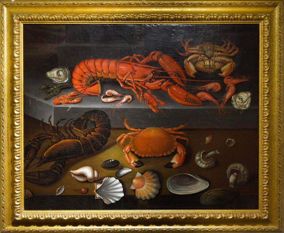Flemish stil life, 1630 cc. Shellfishes. 71x86 oil