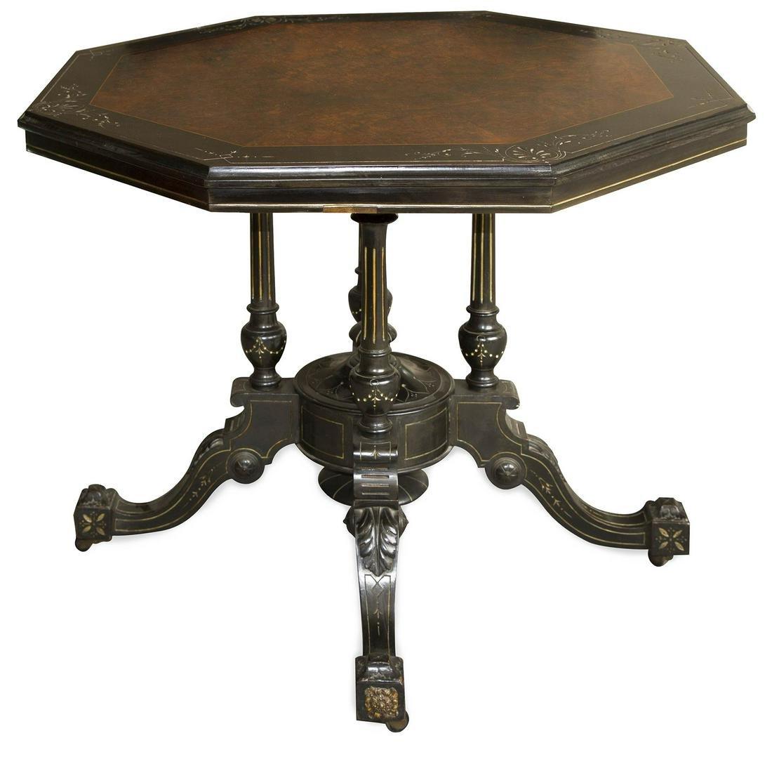 Octagonal shaped table, 19th century. Black ebonized