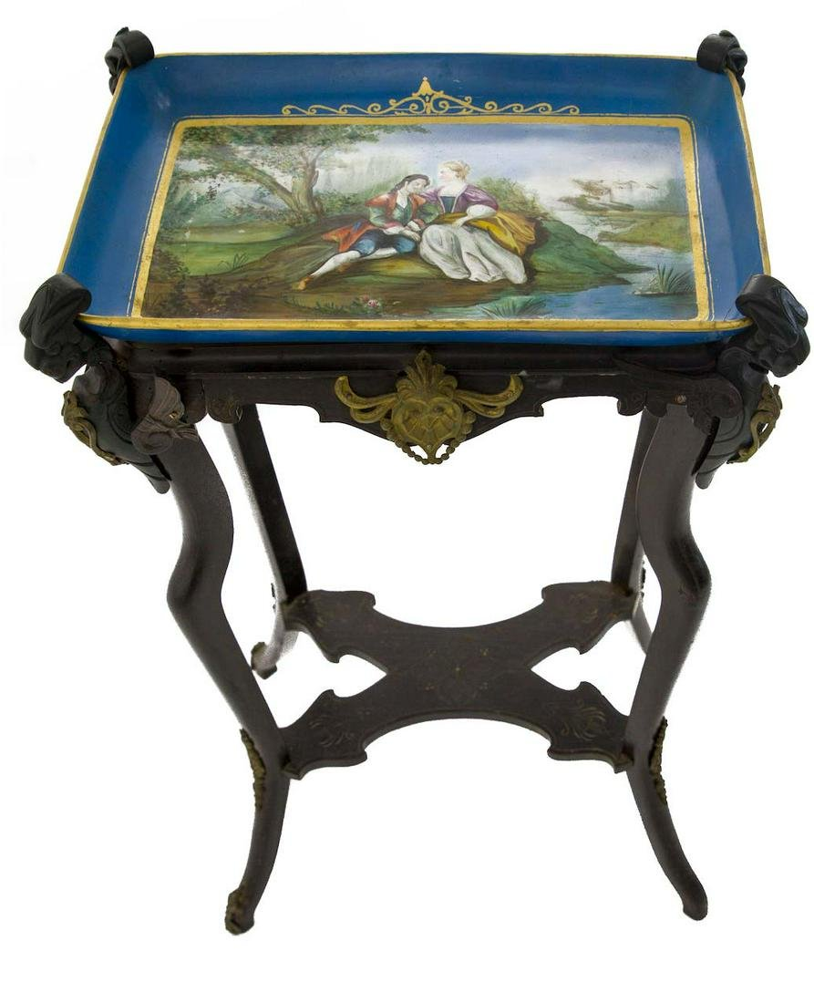 Small table from the 19th century, France. Painted