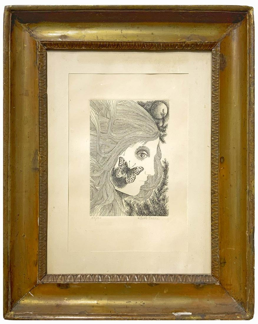 Half blunt frame, with lithography of a woman- 20th