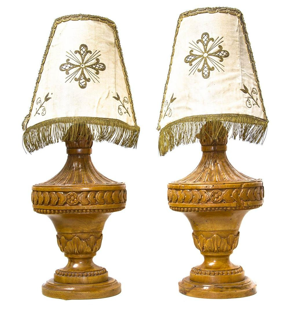 Pair of cone style lamps, Louis XVI, late 1700s,