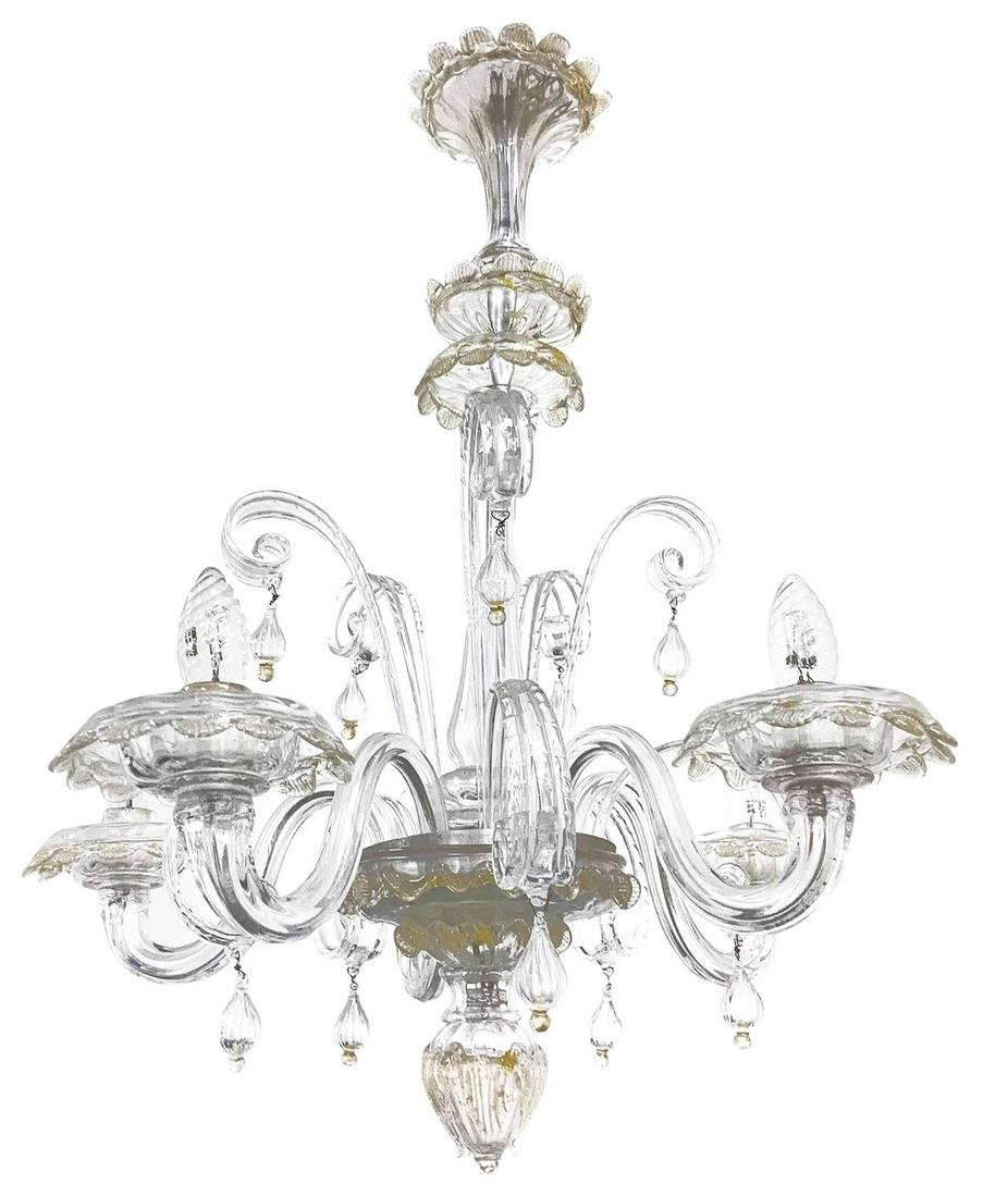 Murano glass chandelier, 20th century. 5 lights. H cm