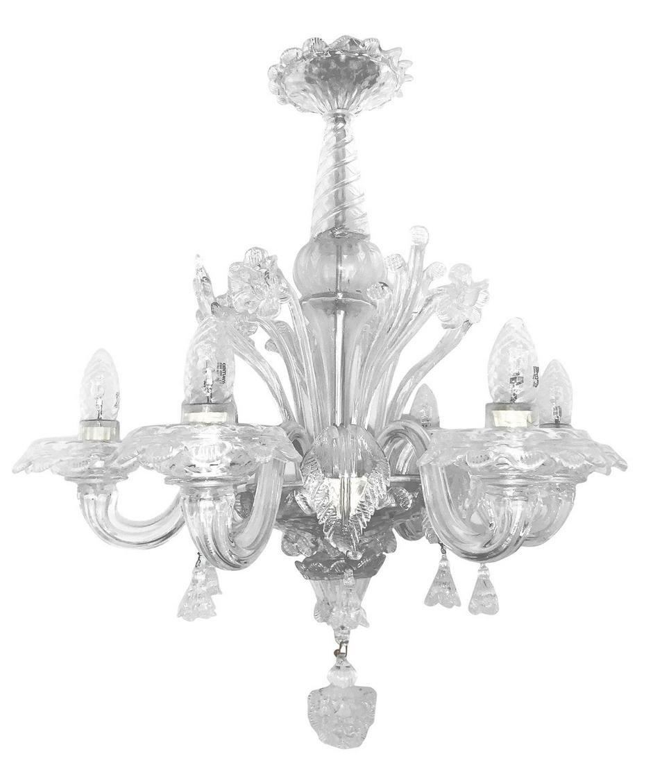 Murano glass chandelier, 5 lights. H cm 74. Diameter cm