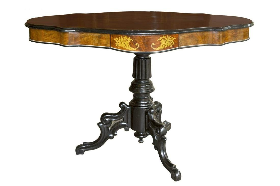 Bean shaped side table with 2 drawers, 19th century.