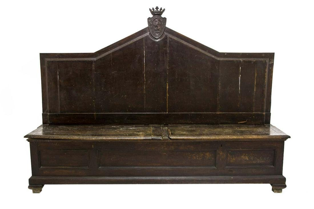 Walnut wood bench with backrest, 18th century. Palermo.