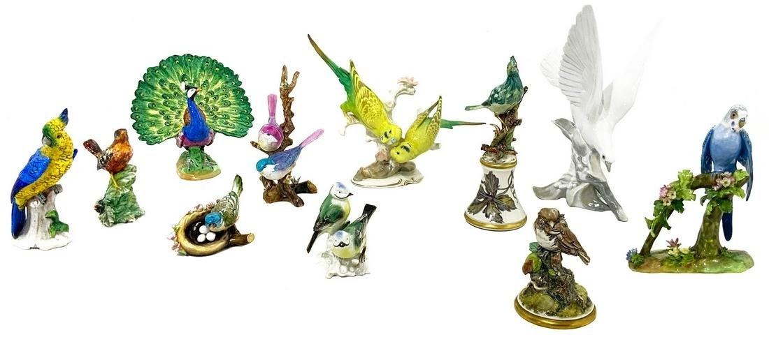 Lot of porcelain birds, 11 pieces (various designas,