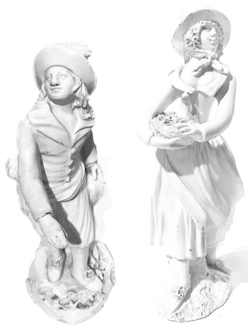 Pari of white earthenware figurines. Naples. Ealy