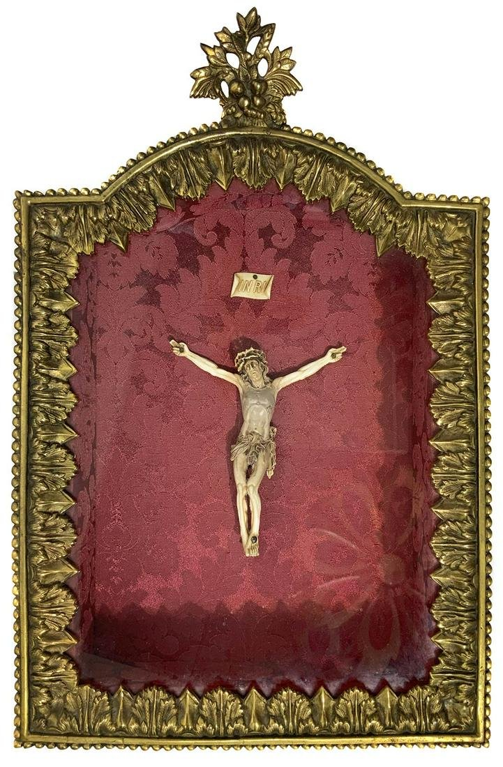 Crucified Jesus in little showcase. 19th century. Cm