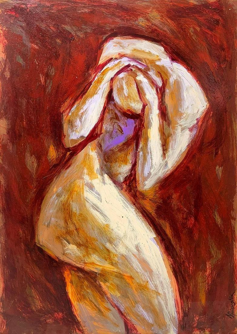 Daniele Spicuglia. Nude portrait. Varnish on copper