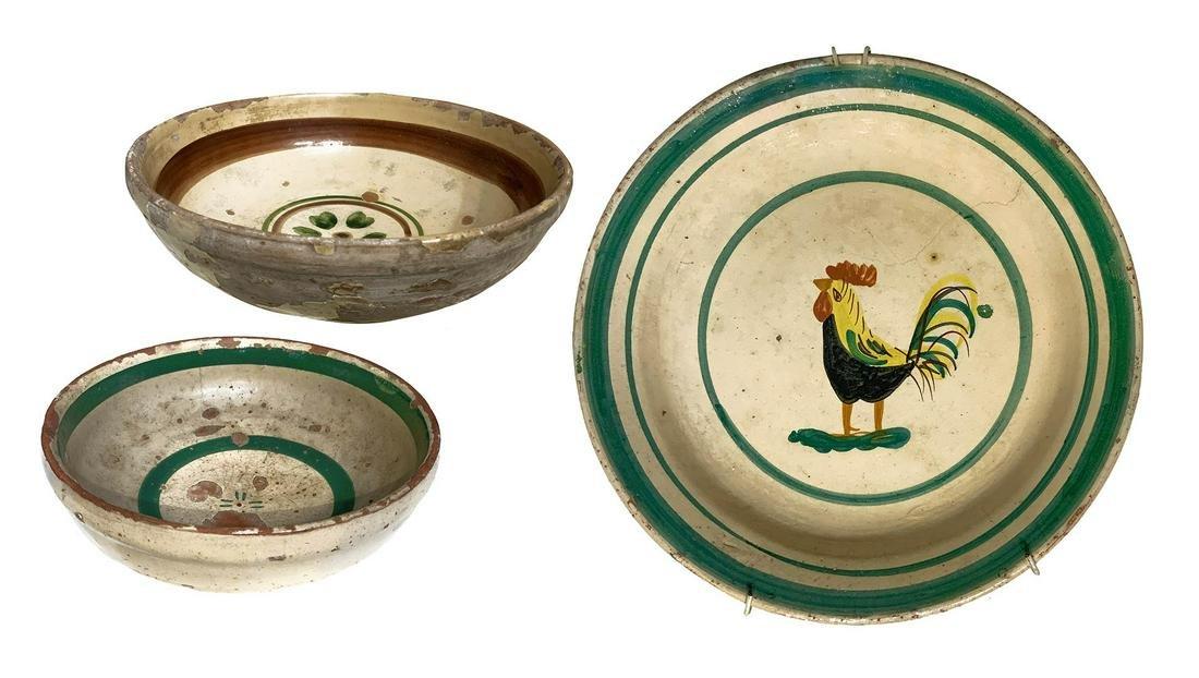 3 Sicilian majolica plates. 2 soup plates. cm 16 e cm