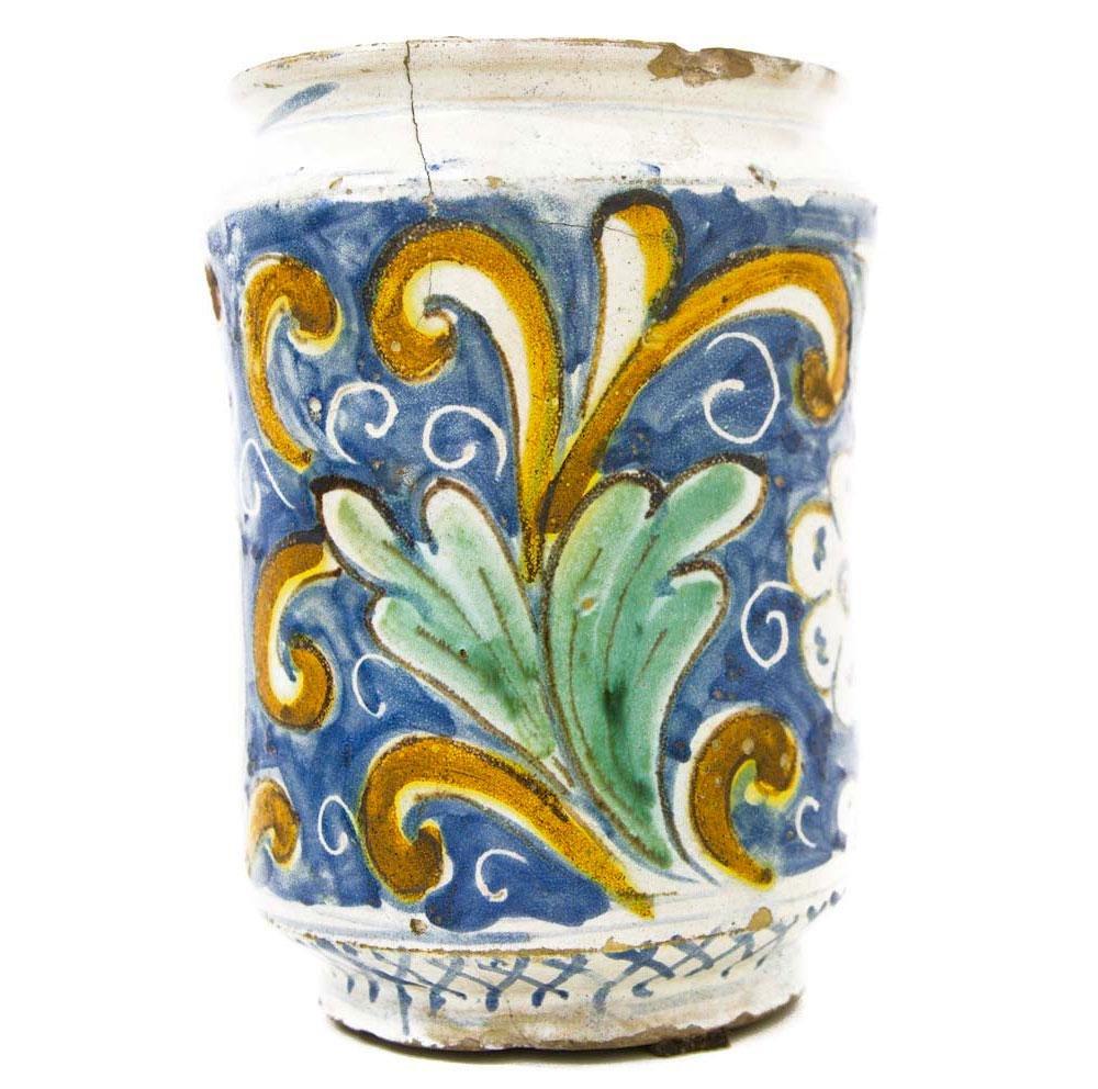 Cylinder in Caltagirone majolica, 18th century. Blue