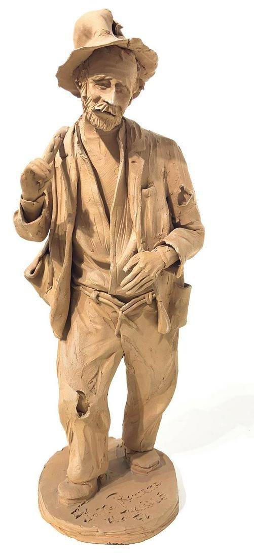 Filippo Romano.Backclay statuette, Caltagirone. Elder