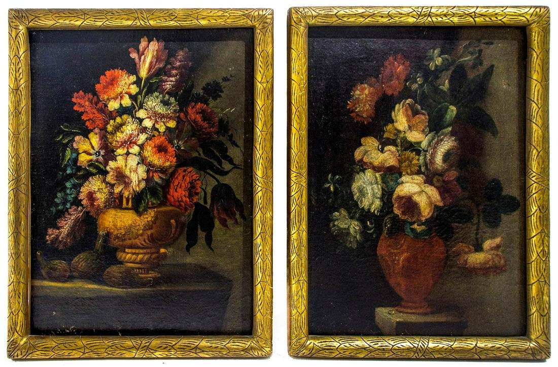 Flemish painter from the 17th century. Pair of flowers
