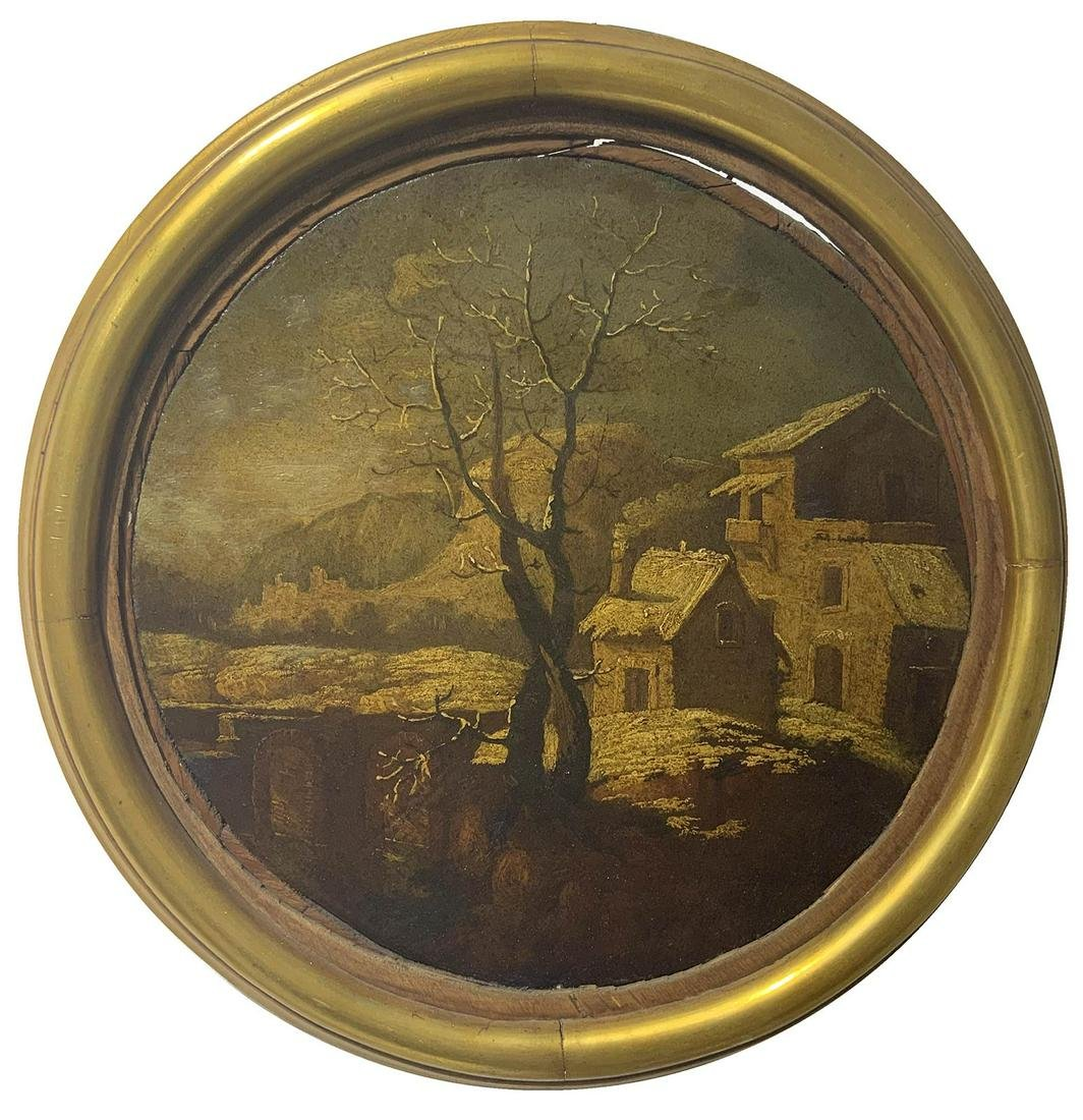 Painter from the 18th century. Round panting with